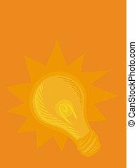 Illustration of a bright lightbulb