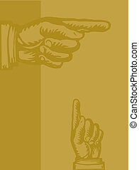 Illustration of hands pointing in different directions