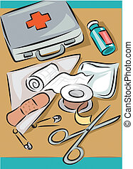 First aid kit and items it contains - scissors, gauze,...