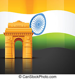 india gate - creative indian flag vector with india gate
