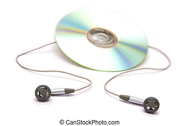 Headphones - Grey and black earphones and compact disc
