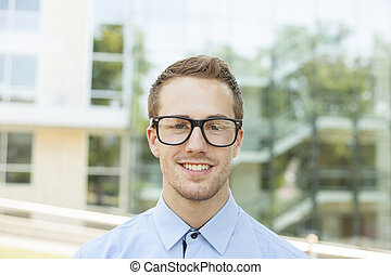 Good Looking Businessman With Retro Nerd Glasses