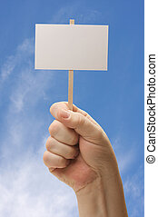 Blank Sign In Fist on Blue Sky Background
