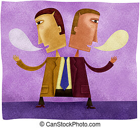 A two headed business man speaking in opposite directions