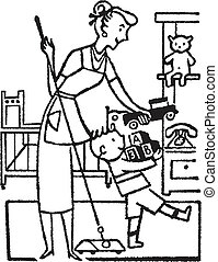 A black and white version of a woman and young boy tidying...