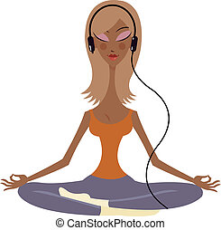A woman with a headphone meditating in the lotus position