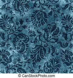 Vintage Blue Floral Tapestry - Worn deep blue floral...