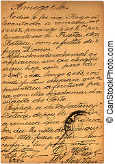Vintage postcard with script writing, Spanish letter