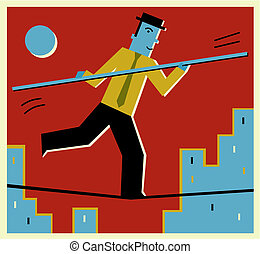 A man walking on a tight rope