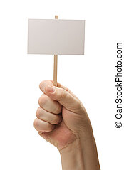 Blank Sign In Fist On White