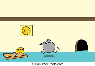 Happy mouse and cheese on a trap - A happy mouse coming out...