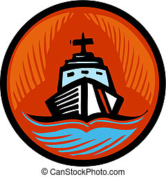 Illustration of a coast guard boat in an orange circle