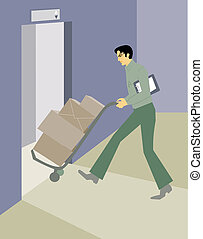 A deliveryman carting boxes onto an elevator