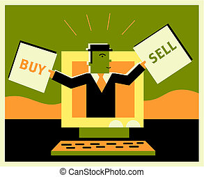 Man inside a computer holding buy and sell signs