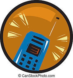 An illustration of a cell phone in an orange circle