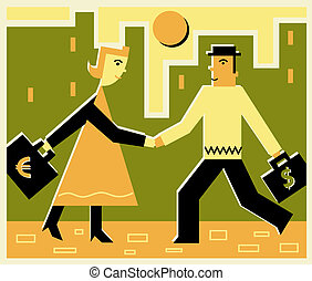 Businesspeople with currency briefcases shaking hands