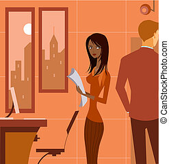 A woman holding papers in office, looking at a man behind...