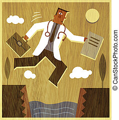 A doctor holding a briefcase and files jumping across a...