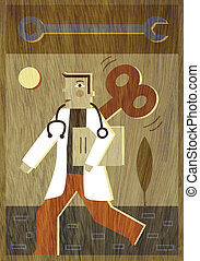 A doctor with a wind up coming out of his back and a wrench above his head