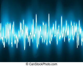 sonido, ondas, oscilando, brillo, luz, EPS, 8