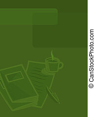 Illustration of business papers and a cup of coffee