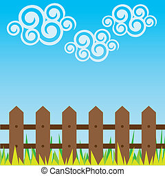 cloud swirls with a fence and grass - illustration of cloud...