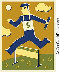 A businessman jumping over a hurdle