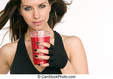 Fruit Bliss - An athlete refuels with a fruit smoothie...
