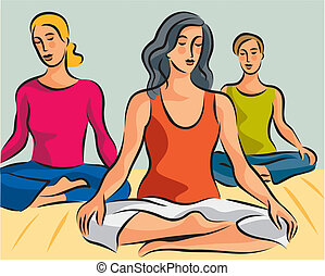 Illustration of three women doing yoga meditation in lotus...
