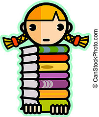 Illustration of a girl with blonde hair carrying a large stack of books