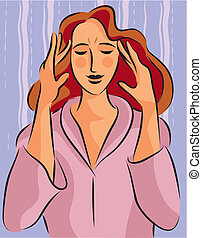 Illustration of a woman massaging her head