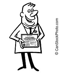 A black and white version of a cartoon style illustration of a doctor with his diploma