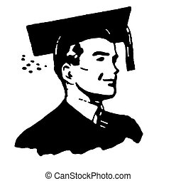 A black and white illustration of a graduate