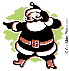 A black and white version of a Christmas inspired Santa...