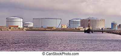 Tanks in the port Port-la-Nouvelle - Panoramic photo of...