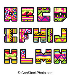 mexican alphabet (part 1) - set of letters with the design...