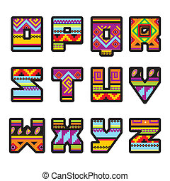 mexican alphabet part 2 - set of letters with the design of...