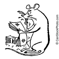 A black and white version of a rat counts the cash