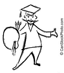 A black and white version of a drawing of a graduating...