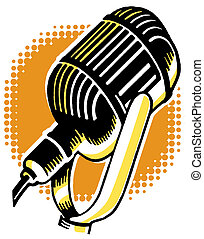 A vintage illustration of a microphone