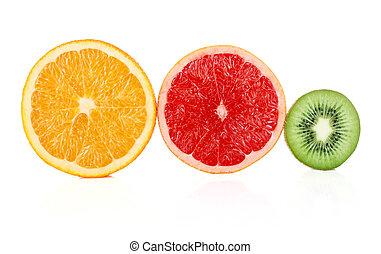 cuted fruit isolated on white background