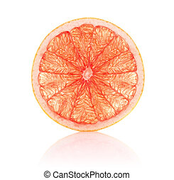 juicy segment grapefruit isolated on white background