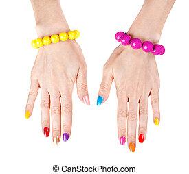 Women's, hands, fashionable, multi-colored, nail, polish