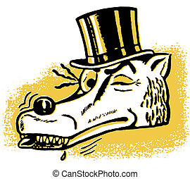 A winking wolf wearing a top hat