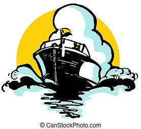 A vintage illustration of a boat