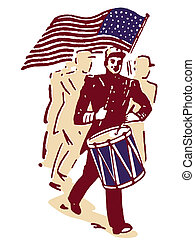 A drummer and American flag