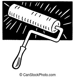 A black and white version of a painting roller brush