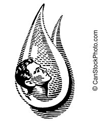 A black and white version of an man in a water drop