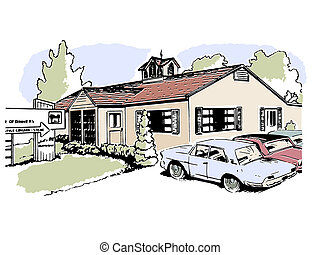 A vintage illustration of a suburban home