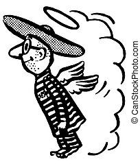 A black and white version of a flying man in a sombrero